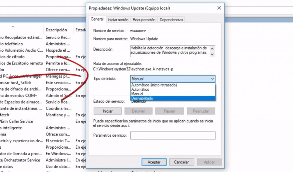 Desactivar servicio de Windows Update