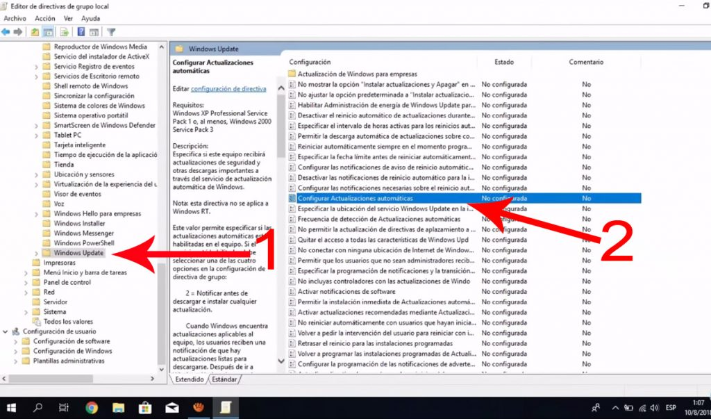 Editor de directivas de grupo local windows update