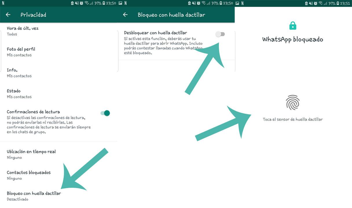 Cómo bloquear WhatsApp con tu huella dactilar